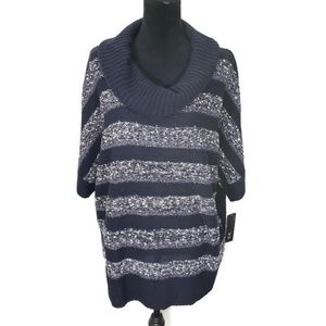AGB Blue Gray Cowl Neck Dolman Sleeve Knit Sweater
